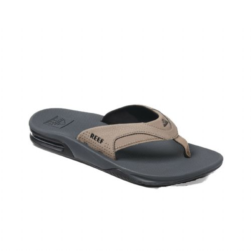 REEF MENS FLIP FLOPS.FANNING TAN BLACK ARCH SUPPORT THONGS SANDALS SHOES 9S 6 TB